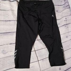 Adidas climalite 3 stripe crop leggings